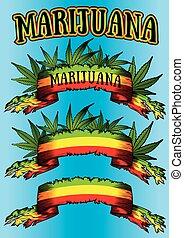 cannabis, papier, blad, groene, perkament
