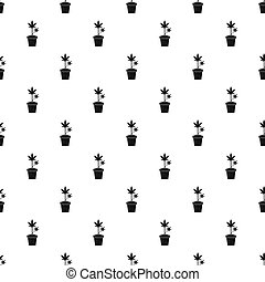 Cannabis plant in a pot pattern, simple style