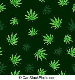 cannabis, queda, seamless
