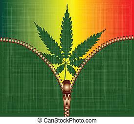 cannabis, reißverschluss, blatt