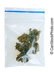 cannabis, saco, plástico, pedaços