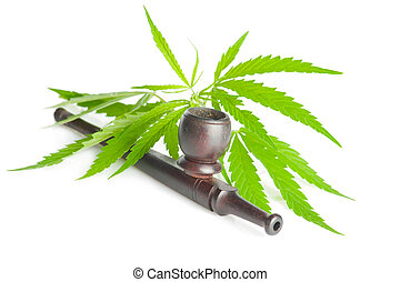 Cannabis sativa. Marijuana leaf and smoking pipe isolated on white background