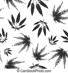 Cannabis seamless pattern design - black and white background with leaves of marijuana