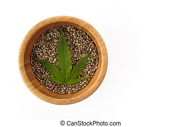Cannabis seeds and green leave. Vegetarian healthy food. Healthy lifestyle. Flat lay, top view