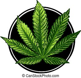 Cannabis sign illustration. Vector. Dark green icon on transparent background.