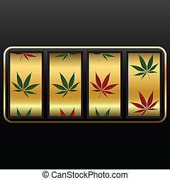 cannabis slot machine, abstract vector art illustration;...