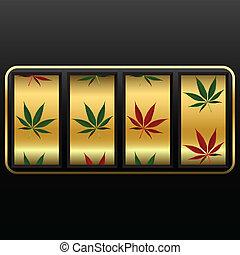 cannabis slot machine, abstract vector art illustration;...