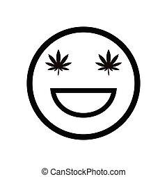 cannabis smile. marijuana  smiling face.  Medical cannabis. ...