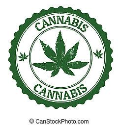 Cannabis grunge rubber stamp, vector illustration