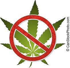 cannabis, symbole, marijuana, prohibition, non