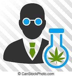 cannabis, vecteur, eps, chimiste, icône