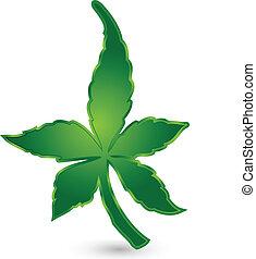 cannabis, vektor, grønne, det leafs, logo