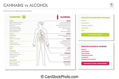 Cannabis vs Alcohol horizontal business infographic