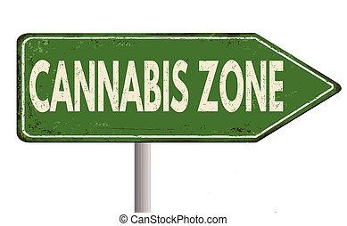 Cannabis zone vintage metal sign