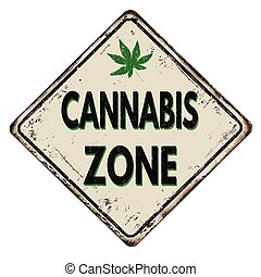 Cannabis zone vintage metal sign - Cannabis zone vintage...