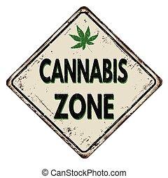 cannabis, zone, weinlese, metall zeichen