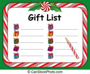 canne, cadeau, cadre, bonbon, liste, menthe poivrée, vacances, noël