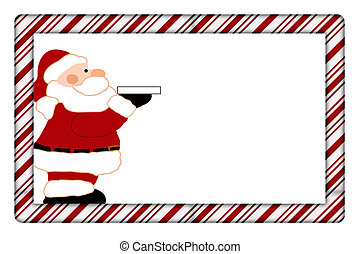 canne, cadre, bonbon, ton, santa, invitation, message, ou
