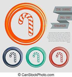 canne, espace, boutons, orange, ton, bonbon, text., raies, icône, noël, menthe poivrée, vecteur, site web, conception, vert, bleu, rouges