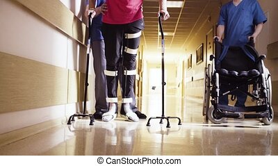 canne marche, soutien, deux, invalide, orthosis, jambes