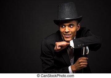 canne, sommet, poser, beau, chapeau, homme