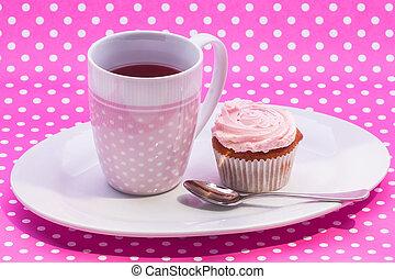 canneberge, thé, à, dessert