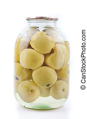 Canned apples in a glass jar