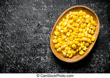 Canned corn on a plate.