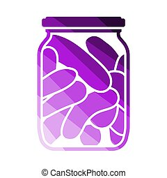 Canned Cucumbers Icon. Flat Color Ladder Design. Vector...