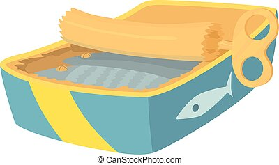Canned fish icon , cartoon style