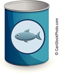 Canned fish icon, cartoon style