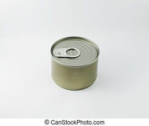 Canned fish isolated on white background stock photo