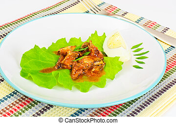 Canned Fish with Eggs on Lettuce