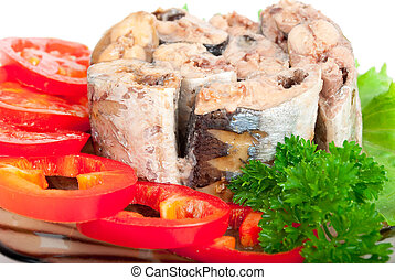 Canned fish with vegetables