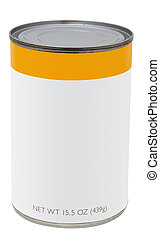 Canned Food - 15.5 oz can with blank label.