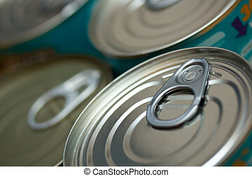 Canned Food - A close up of cans of food