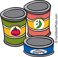 An Illustration of three cans of food