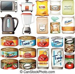 Canned food and electronic kitchen devices illustration