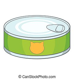 Canned food for cat icon, cartoon style