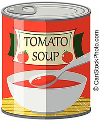 Canned food for tomato soup illustration