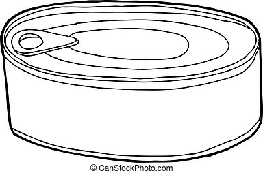 Canned Food - Generic black outline food can over white