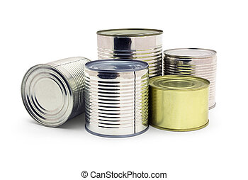 Canned food - Group of food tin cans isolated on white