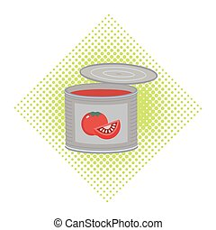 Canned food icon - Canned food concept. Freehand drawn...