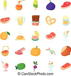Canned food icons set, cartoon style