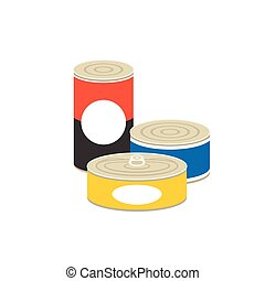 canned food illustration, flat design vector
