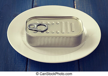 canned food on blue background