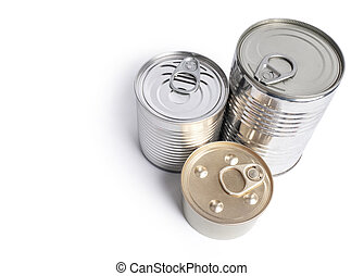 Canned food on white background