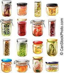 Canned Food Set - Set of canned food in glass jars with...