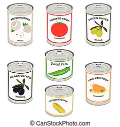 Canned food set - Vector illustration canned food set,...