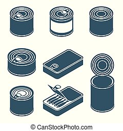 Canned food vector silhouettes, icons